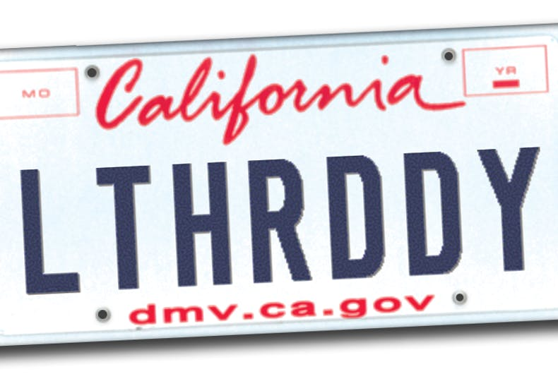LTHR DDY license plate mockup