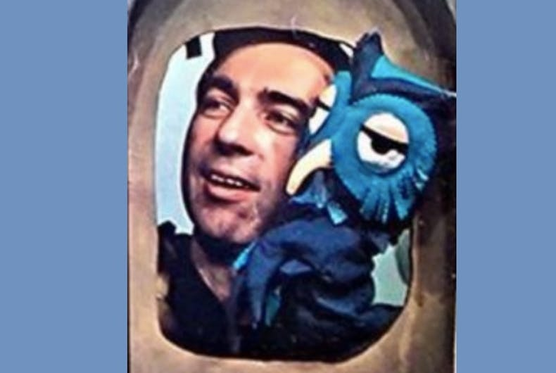 Mr. Rogers with an owl puppet