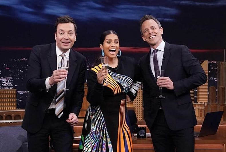 Jimmy Fallon, Lilly Singh, and Seth Myers.