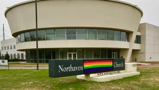 An LGBTQ-friendly church covered up 'United Methodist' in its sign in protest of anti-LGBTQ ban