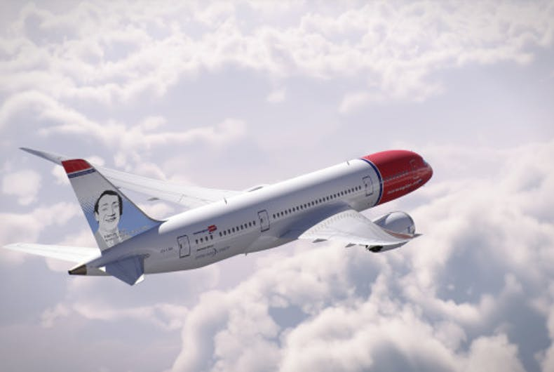 A new Norwegian Air jumbo jet will feature Harvey Milk's face on the tail fin.