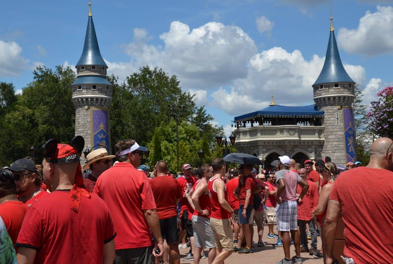 Visitors to the Magic Kingdom's Gay Day wear red as part of the festivities