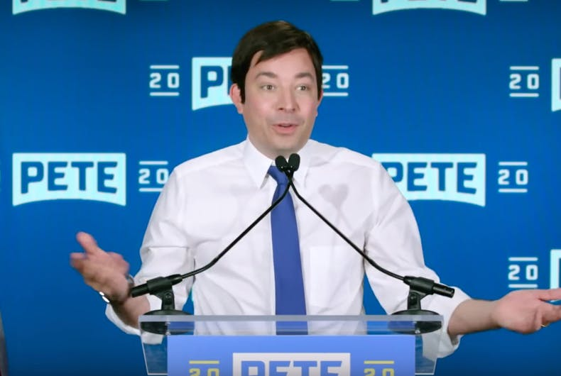 Late night host Jimmy Fallon as our presidential candidate Pete Buttigieg