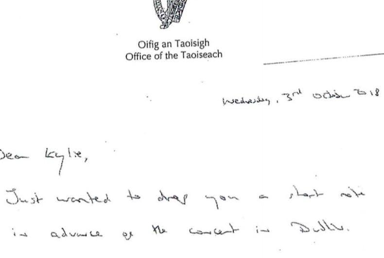 The handwritten letter from Irish Taoiseach Leo Varadkar to Kylie Minogue