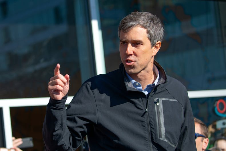March 17 2019: Former Texas congressman and Democratic presidential candidate Beto O'Rourke greets supporters outside Cargo Coffee Shop on St. Patrick's Day in Madison, Wis