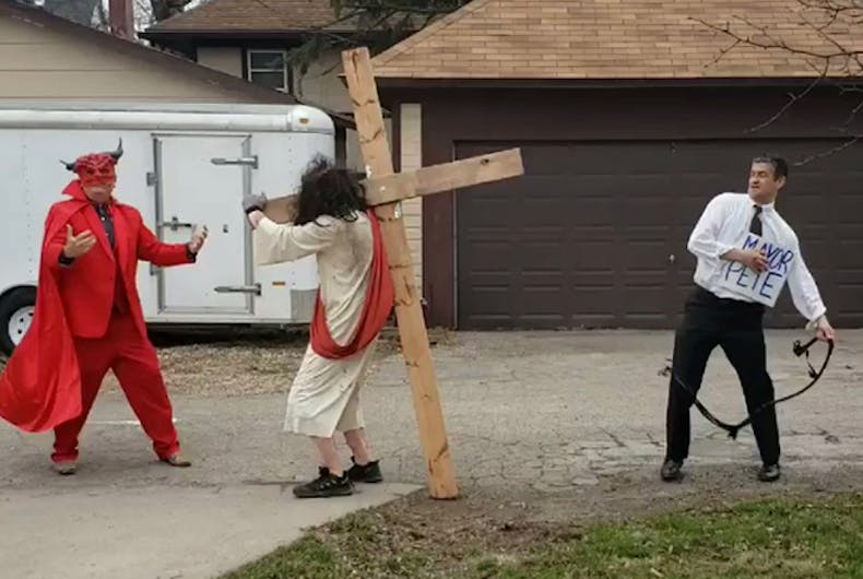 Christians staged a bizarre protest of Pete Buttigieg featuring a Mayor Pete impersonator flogging Jesus Christ while Satan urges him on