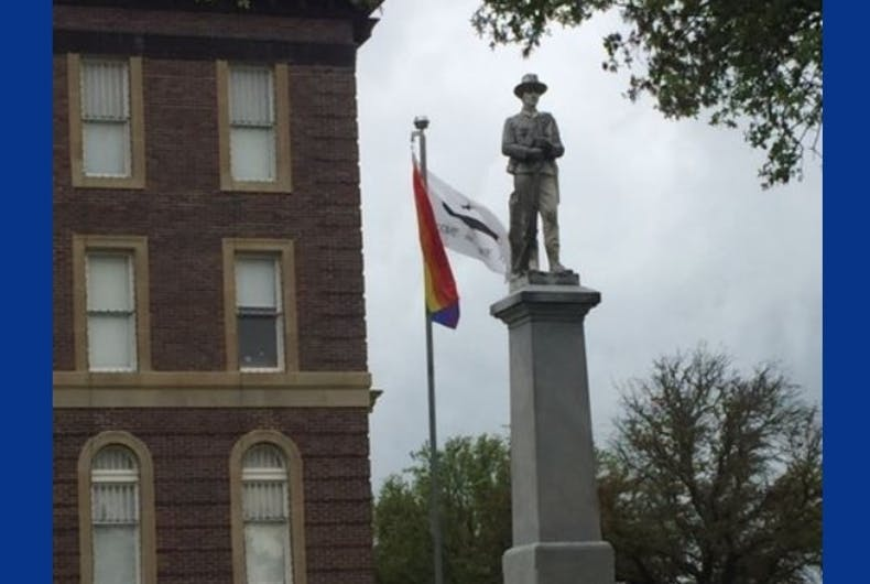 The rainbow flag flying outside the Mills County Courthouse