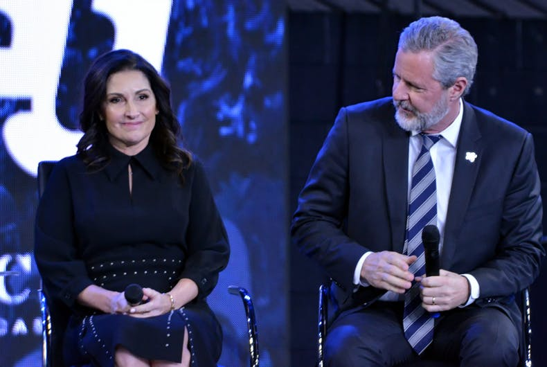 Nov. 28, 2018: Becki Falwell and her husband Jerry Falwell Jr. taking part in a town hall discussion on the opioid crisis in America hosted by Liberty University.