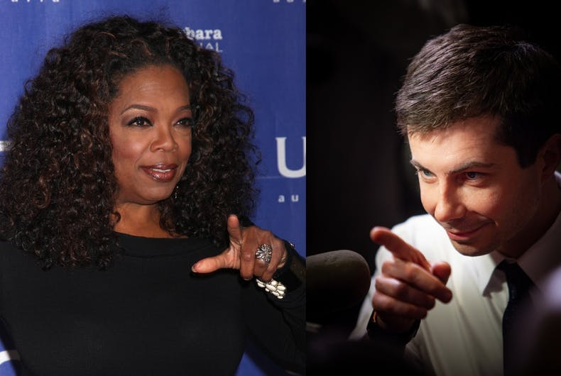 Oprah Winfrey and Pete Buttigieg