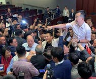 Hong Kong's only gay lawmaker got into a brawl on the floor of parliament