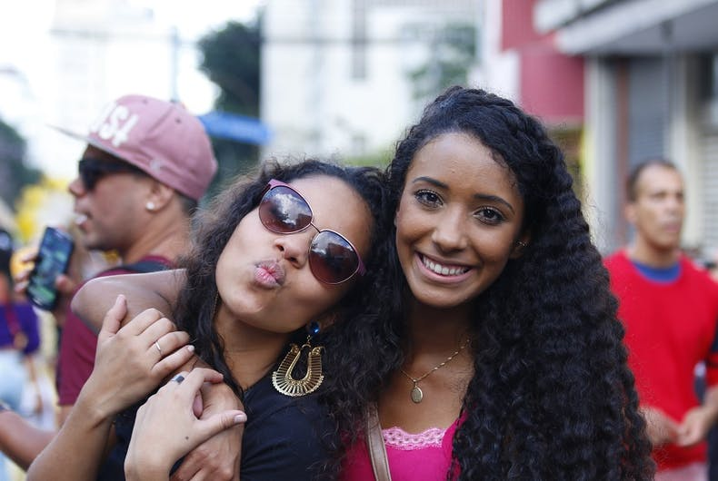 Two women, celebrating culture in the 19th Gay Pride Parade Sao Paulo in 2015.