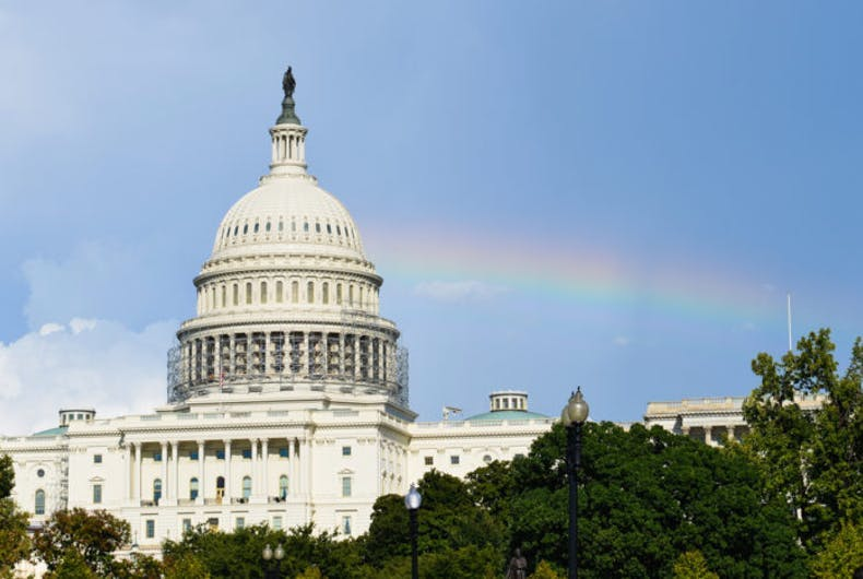 A rainbow above the Capitol