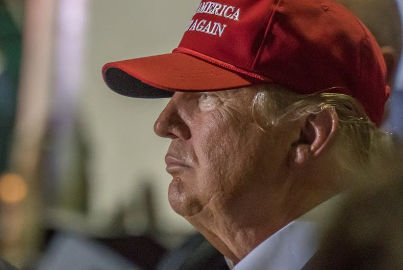 Profile view of Donald J Trump, presidential candidate, at the Boca Raton, FL Rally on March 13th, 2016