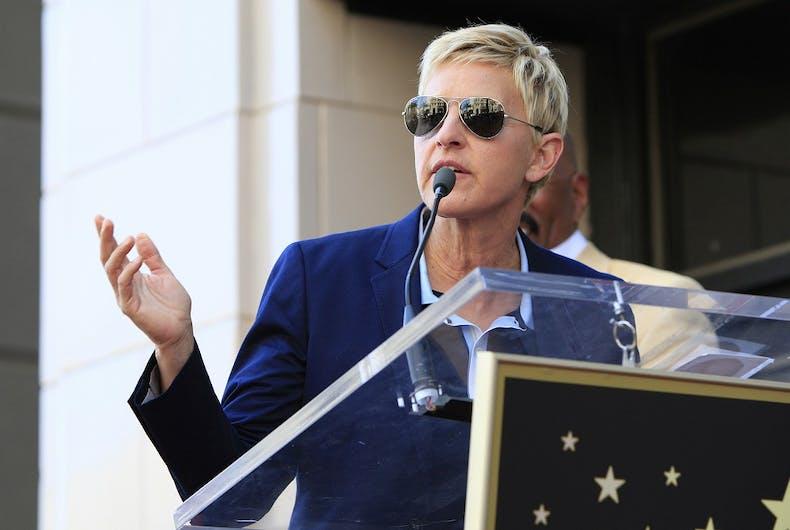 Ellen at a lectern