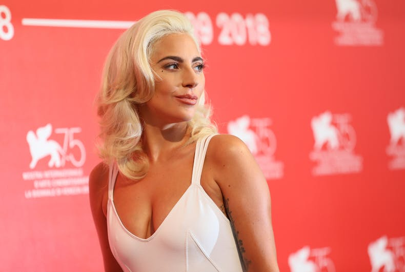 Lady Gaga attends 'A Star Is Born' photocall during the 75th Venice Film Festival at Sala Casino on August 31, 2018
