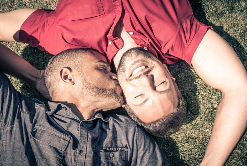 gay men, gay couple, kissing, happy, outdoors