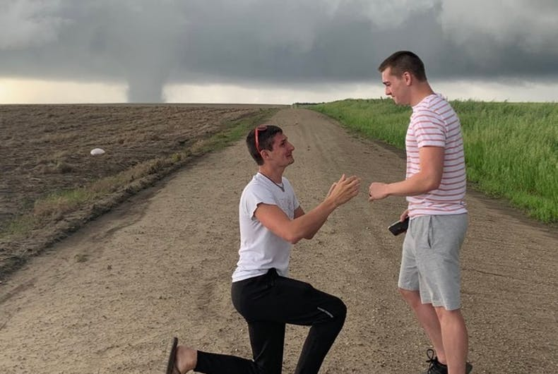 The proposal in front of a tornado
