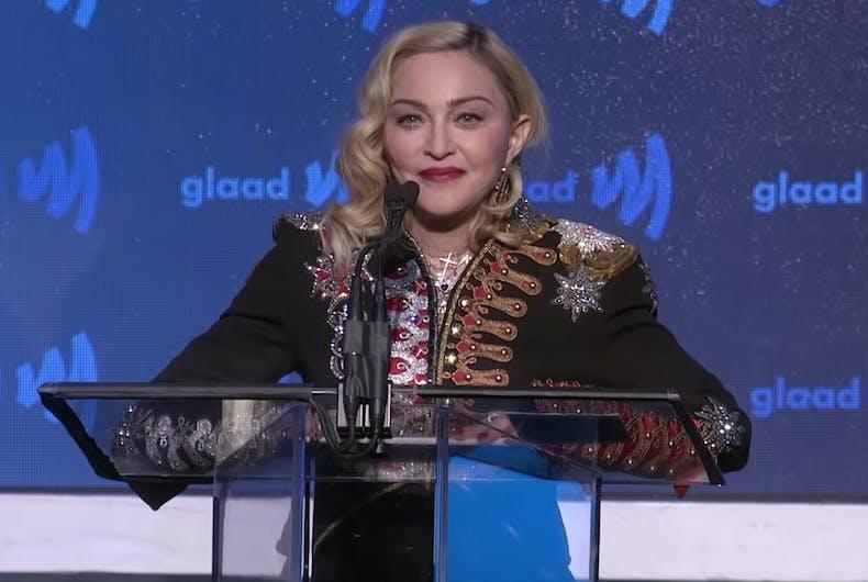 Madonna giving her speech