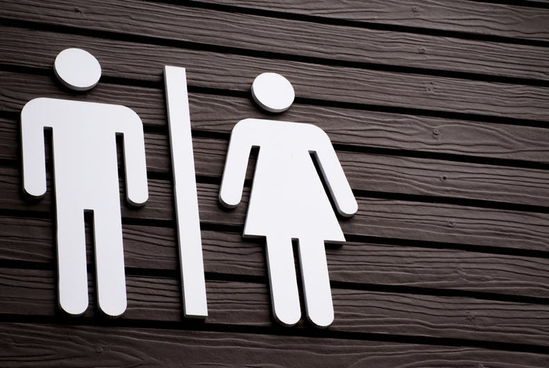 Mens room/womens room sign