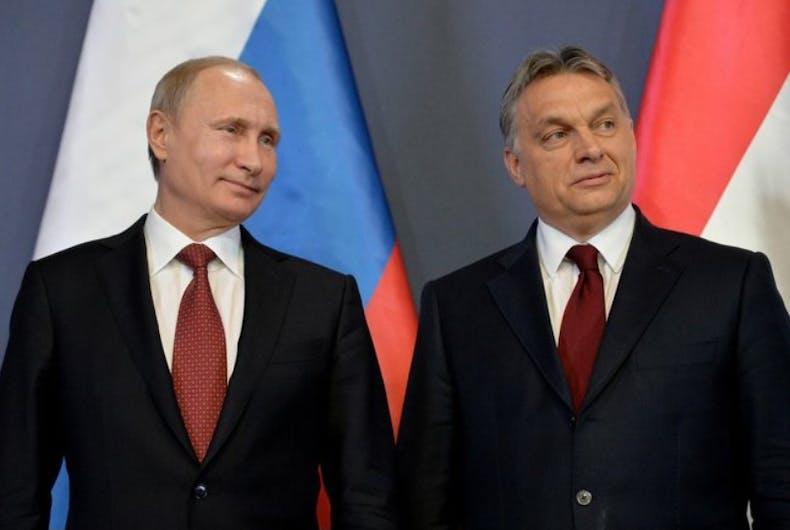 Russian leader Vladimir Putin and Hungarian prime minister Viktor Orban