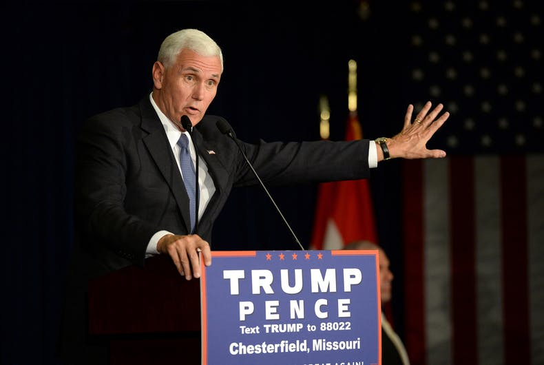 September 06, 2016: Republican vice presidential candidate, Indiana Governor Mike Pence speaks to supporters at a rally in Chesterfield, Missouri