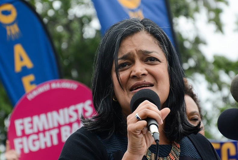 Representative Pramila Jayapal speaks at a rally.