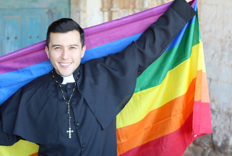 rainbow flag, priest