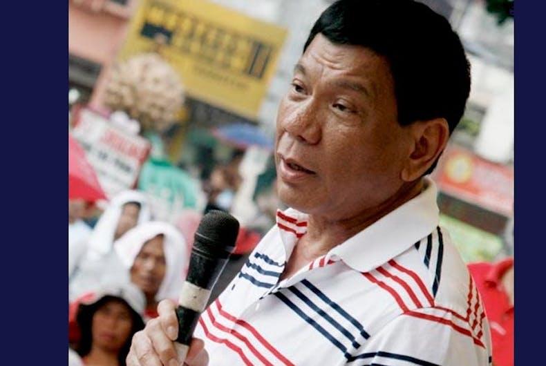 Rodrigo Duterte speaking at an event in 2009.