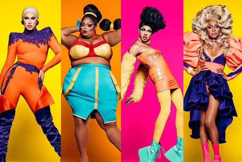 The final four queens of Season 11: Brooke Lynn Hytes, Silky Nutmeg Ganache, Yvie Oddly, and A'Keria C. Davenport