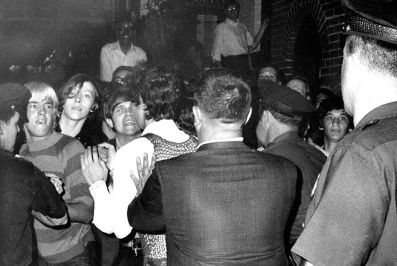 Street kids, including homeless youth who made the park across the street from Stonewall Inn home, fight with police the first night of the riots.