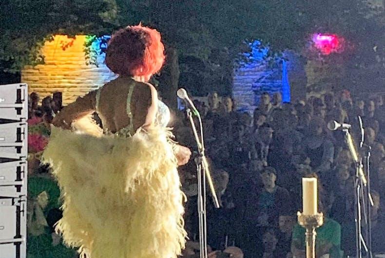 Jade Elektra performs at the Toronto AIDS Vigil on June 18, 2019.