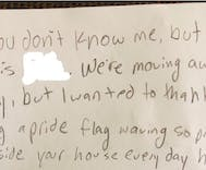 A lesbian couple found this heartwarming note from a neighborhood kid on their front step