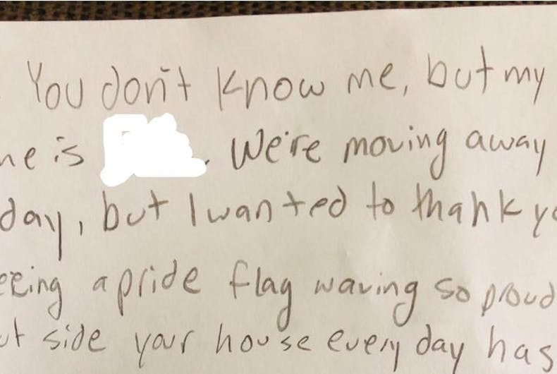 A portion of the heartwarming note left on Sal Stow and Meghan Stabler's front porch.