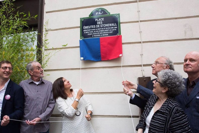 Paris Mayor Anne Hidalgo unveils the new sign for Stonewall Square
