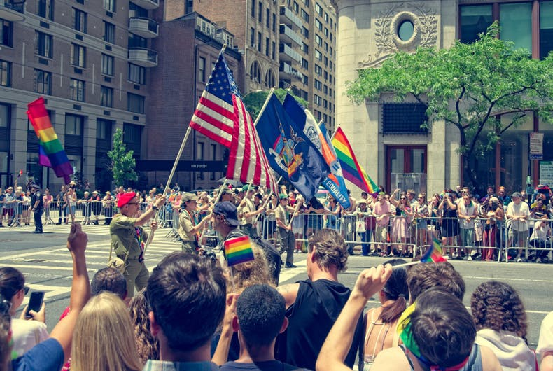 The Boy Scouts of America march in the 2018 New York City LGBTQ Pride Parade.