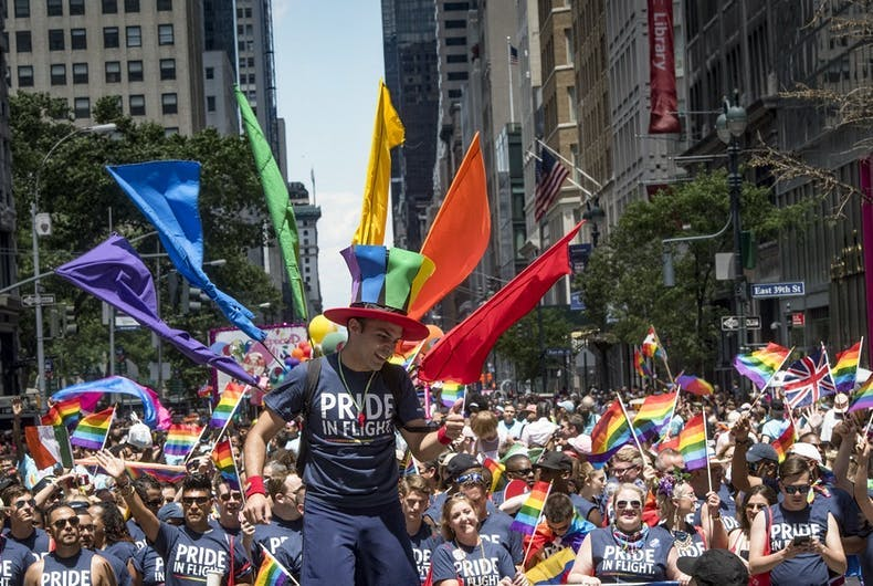 Delta Airlines participates in 2017's pride march. New York City's pride has been criticized for being too corporate.