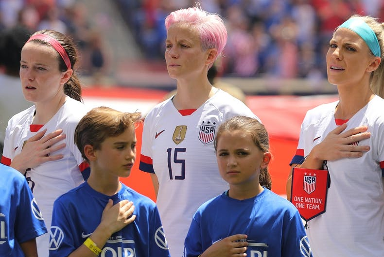 HARRISON, NJ - MAY 26, 2019: U.S. Women's National Soccer Team forward Megan Rapinoe #15 during National Anthem before friendly game against Mexico. Since she was reprimanded for kneeling during the National Anthem, she has refused to put her hand on her heart.