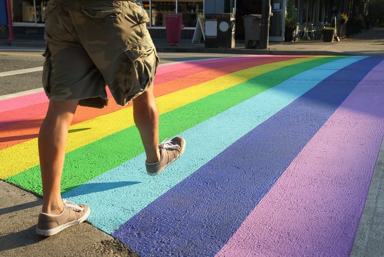 rainbow crosswalk, LGBTQ, pride, fast walking