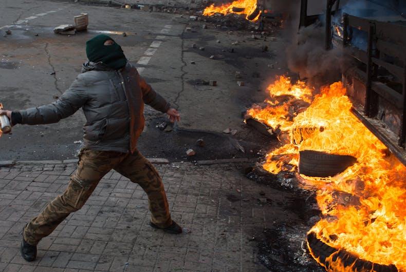 riot, fire, molotov cocktail