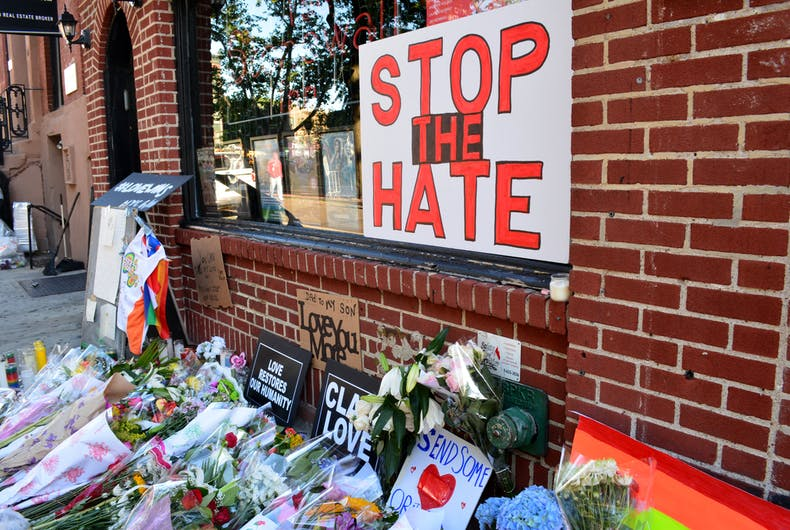 June 13, 2016: Memorial outside the landmark Stonewall Inn for the victims of the mass shooting at the Pulse Nightclub in Orlando