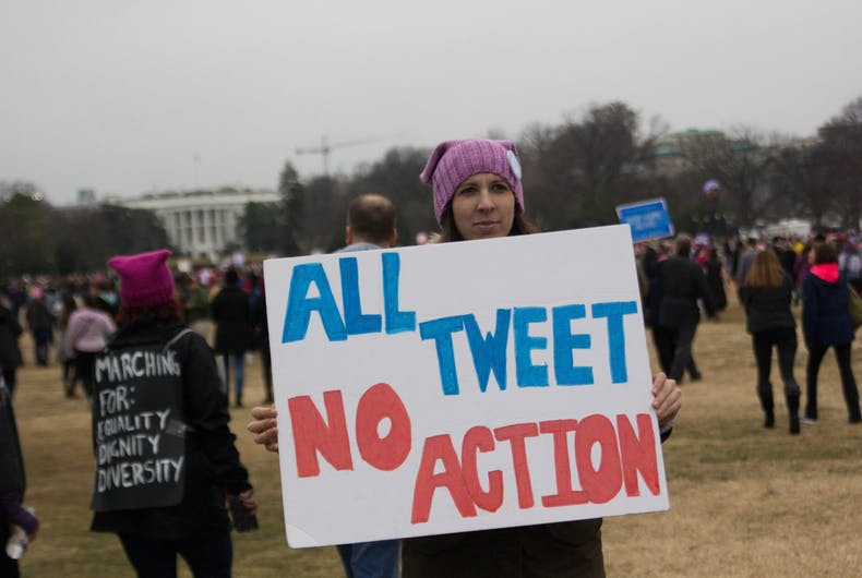 Participants in the Women's March on Washington march in front of the White House in Washington, D.C., Saturday, January 21, 2017