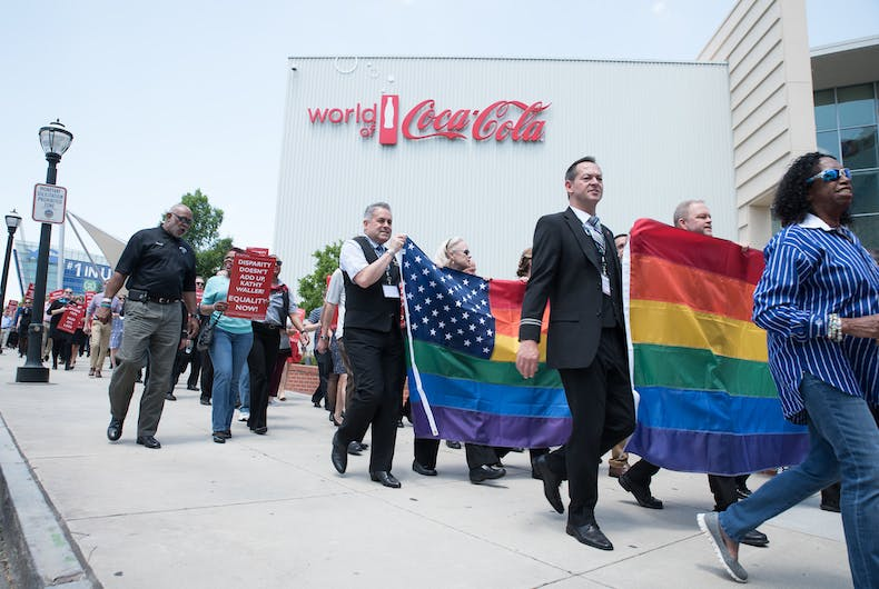 AFA members protested Delta on a number of issues in 2016 - including LGBTQ equality measures.