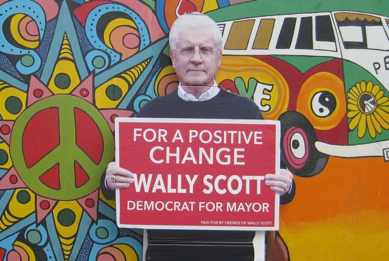 A cardboard cutout of Reading, PA mayor Wally Scott promises