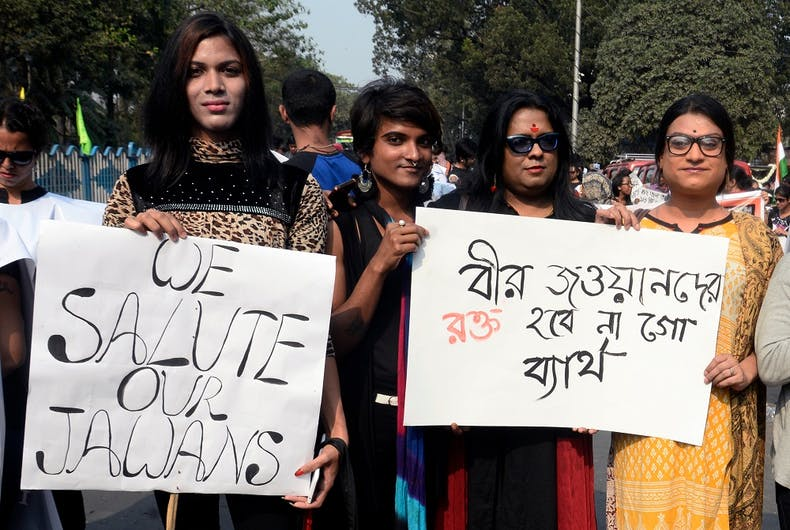 Transgender activists in Kolkata, West Bengal, condemn a terrorist attack earlier this year.