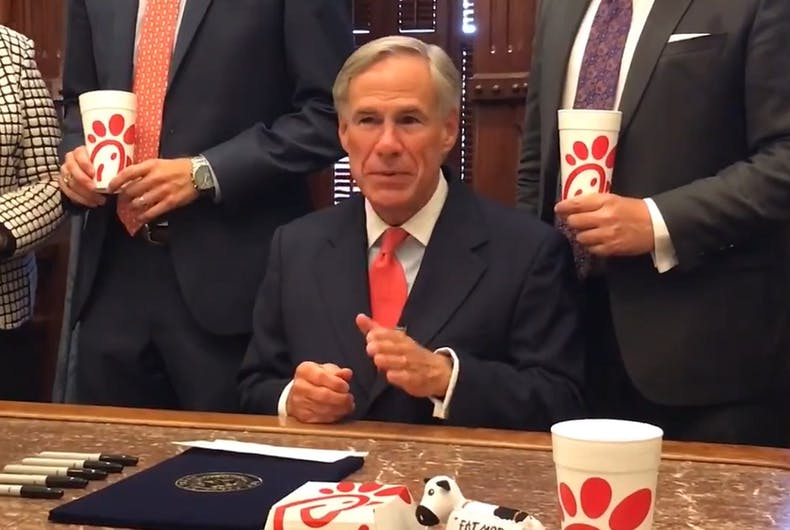 Greg Abbott surrounded by Chick-fil-A