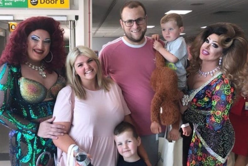 Kerry Powell, family, Pride airlines, flight, drag queens