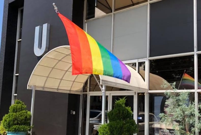 The rainbow flag outside Salon U