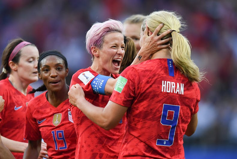 megan rapinoe of usa celebrates after scoring during the 2019 fifa women s world cup france group f match between usa and thailandphoto shutterstock
