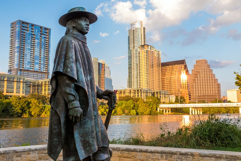 Stevie Ray Vaughn statue, Austin, transgender, stabbing
