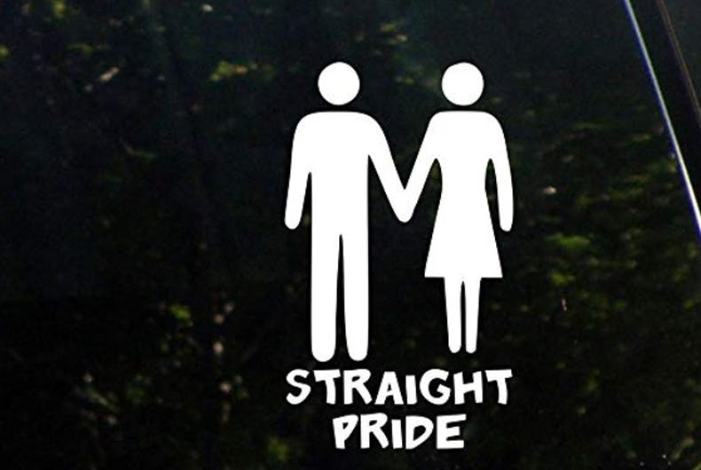 A straight pride car decal
